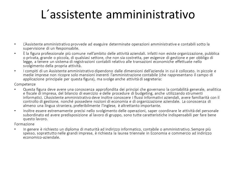 L´assistente ammininistrativo LAssistente amministrativo provvede ad eseguire determinate operazioni amministrative e contabili sotto la supervisione