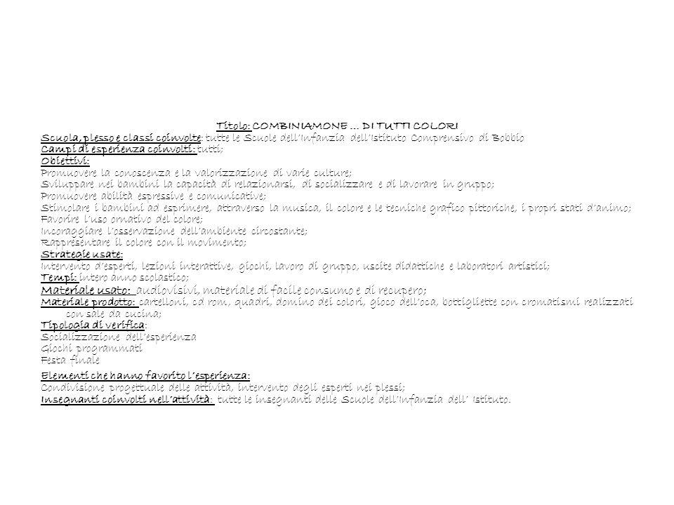 Titolo: COMBINIAMONE … DI TUTTI COLORI Scuola, plesso e classi coinvolte: tutte le Scuole dellInfanzia dellIstituto Comprensivo di Bobbio Campi di esp