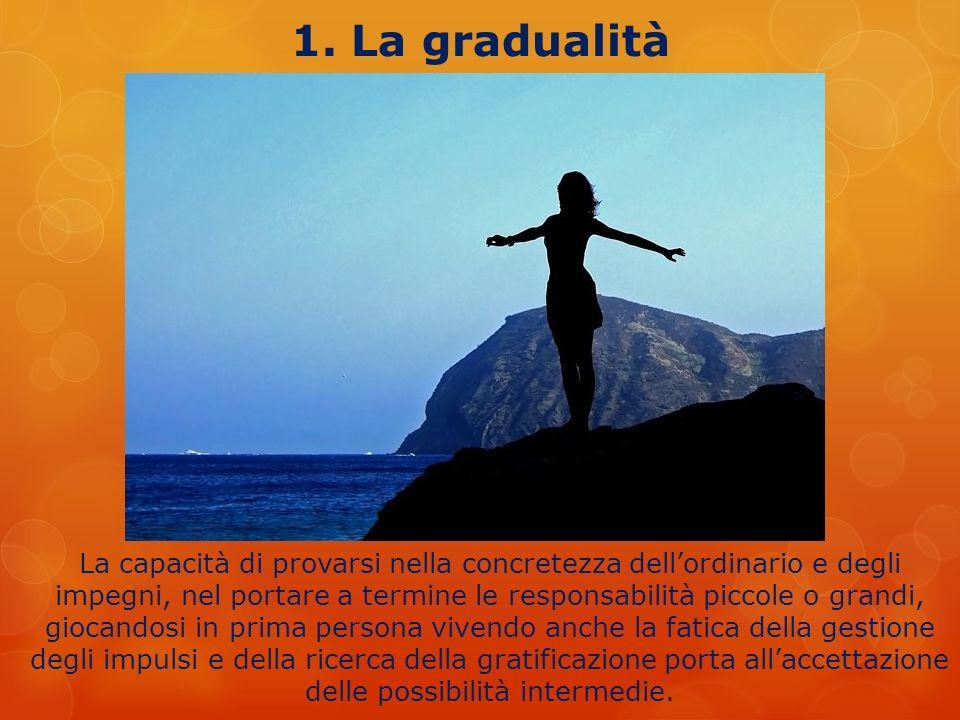 1. La gradualità La capacità di provarsi nella concretezza dellordinario e degli impegni, nel portare a termine le responsabilità piccole o grandi, g