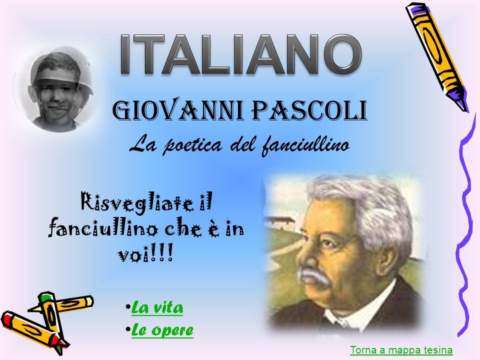 Giovanni Pascoli La poetica del fanciullino Risvegliate il fanciullino che è in voi!!! Torna a mappa tesina La vita Le opere