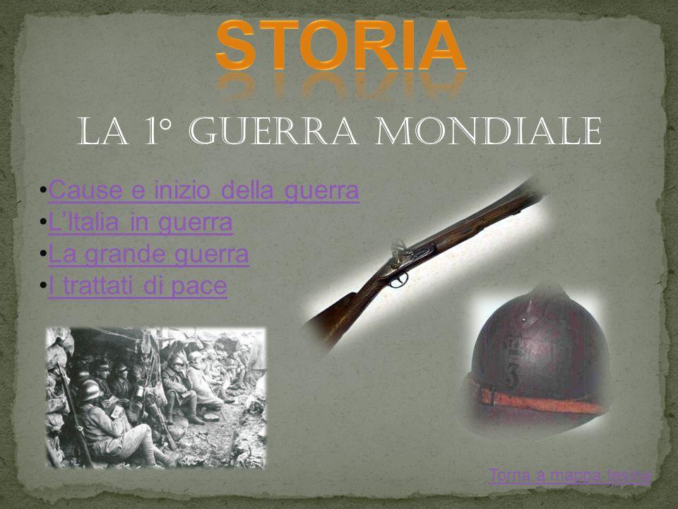 LA 1° GUERRA MONDIALE Cause e inizio della guerra LItalia in guerra La grande guerra I trattati di pace Torna a mappa tesina