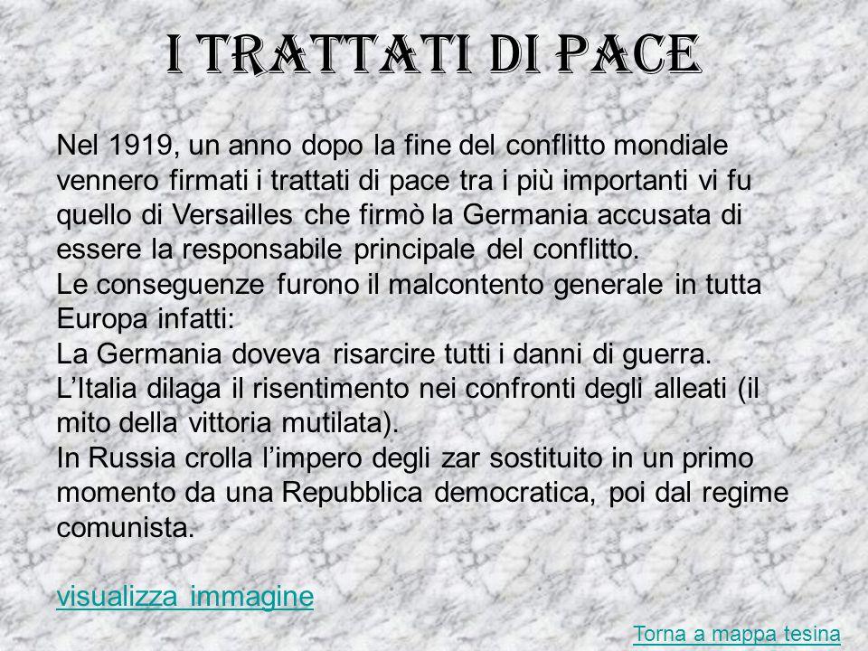 I TRATTATI DI PACE Nel 1919, un anno dopo la fine del conflitto mondiale vennero firmati i trattati di pace tra i più importanti vi fu quello di Versa
