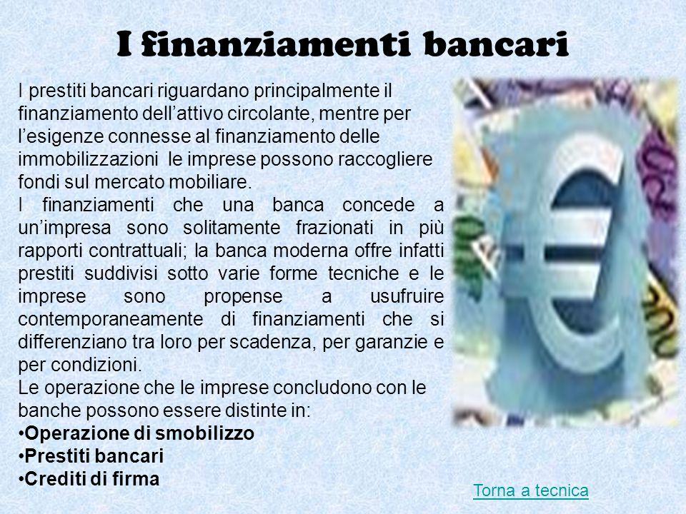 I finanziamenti bancari I prestiti bancari riguardano principalmente il finanziamento dellattivo circolante, mentre per lesigenze connesse al finanzia