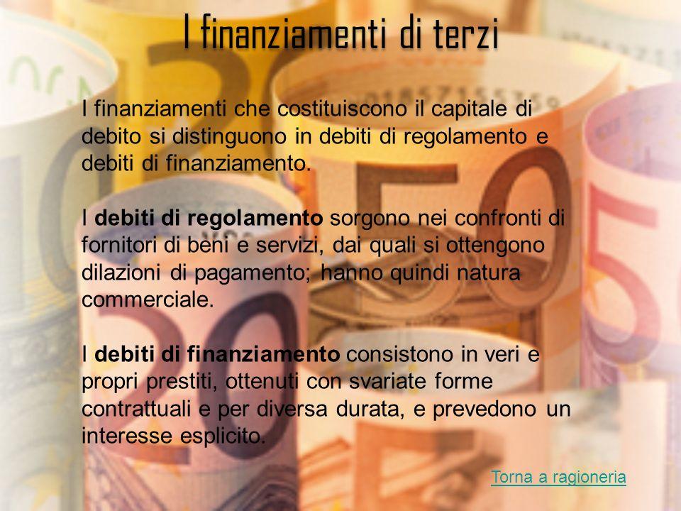 I finanziamenti di terzi I finanziamenti che costituiscono il capitale di debito si distinguono in debiti di regolamento e debiti di finanziamento. I