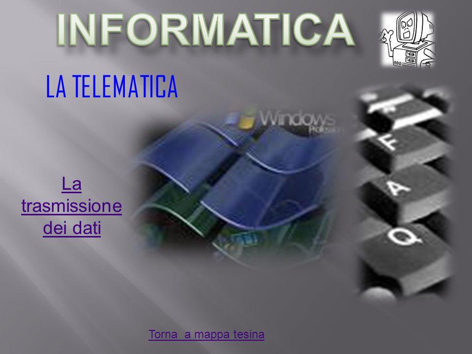 LA TELEMATICA La trasmissione dei dati Torna a mappa tesina