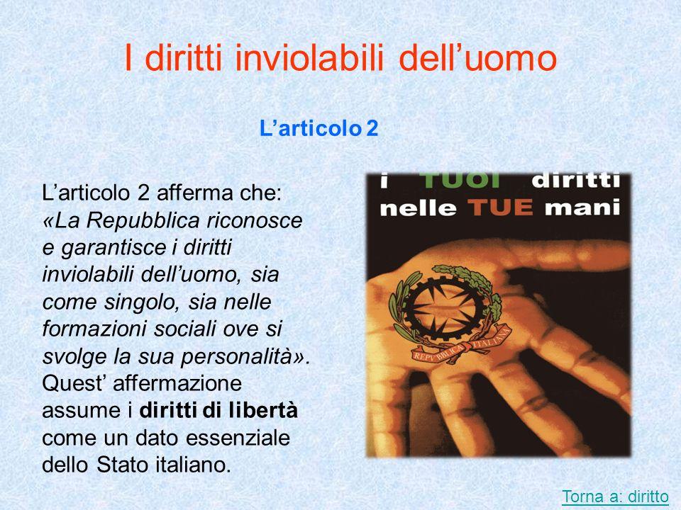 I diritti inviolabili delluomo Larticolo 2 Larticolo 2 afferma che: «La Repubblica riconosce e garantisce i diritti inviolabili delluomo, sia come sin
