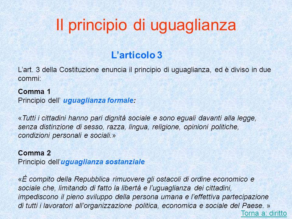 Il principio di uguaglianza Larticolo 3 Lart. 3 della Costituzione enuncia il principio di uguaglianza, ed è diviso in due commi: Comma 1 Principio de