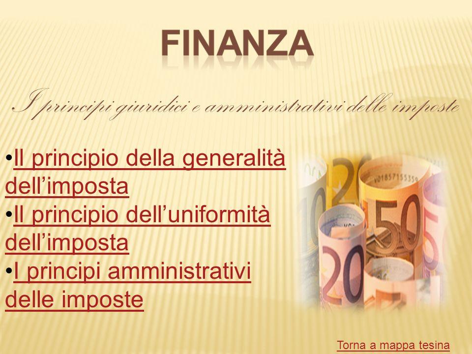 I principi giuridici e amministrativi delle imposte Il principio della generalità dellimpostaIl principio della generalità dellimposta Il principio de