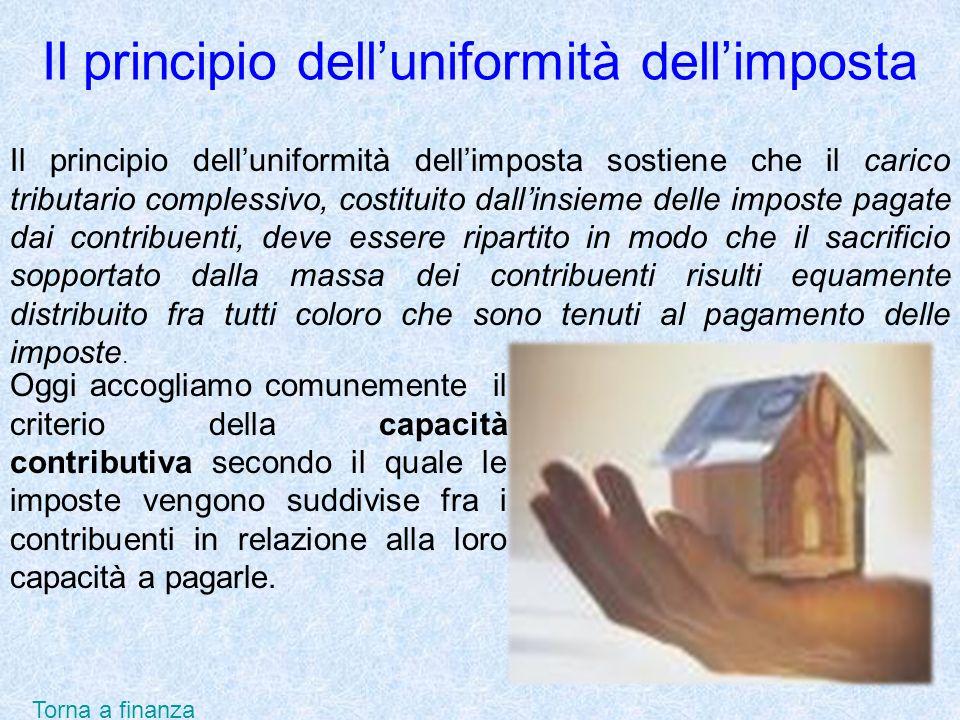 Il principio delluniformità dellimposta Il principio delluniformità dellimposta sostiene che il carico tributario complessivo, costituito dallinsieme