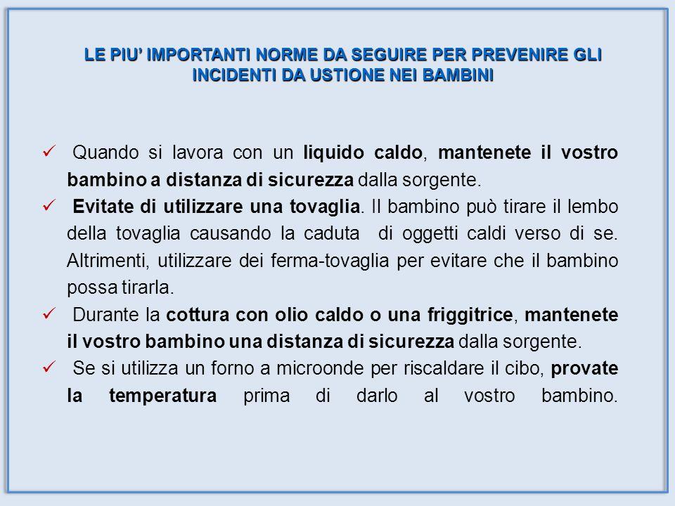 Quando si lavora con un liquido caldo, mantenete il vostro bambino a distanza di sicurezza dalla sorgente. Evitate di utilizzare una tovaglia. Il bamb