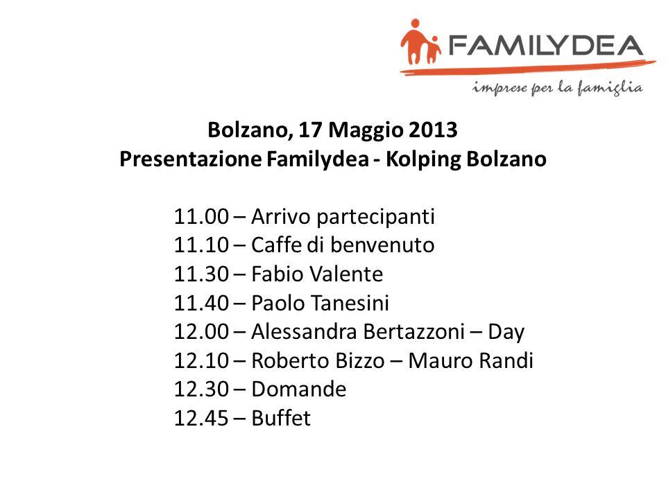 Bolzano, 17 Maggio 2013 Presentazione Familydea - Kolping Bolzano 11.00 – Arrivo partecipanti 11.10 – Caffe di benvenuto 11.30 – Fabio Valente 11.40 –