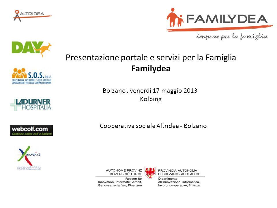Bolzano, venerdì 17 maggio 2013 Kolping Presentazione portale e servizi per la Famiglia Familydea Cooperativa sociale Altridea - Bolzano