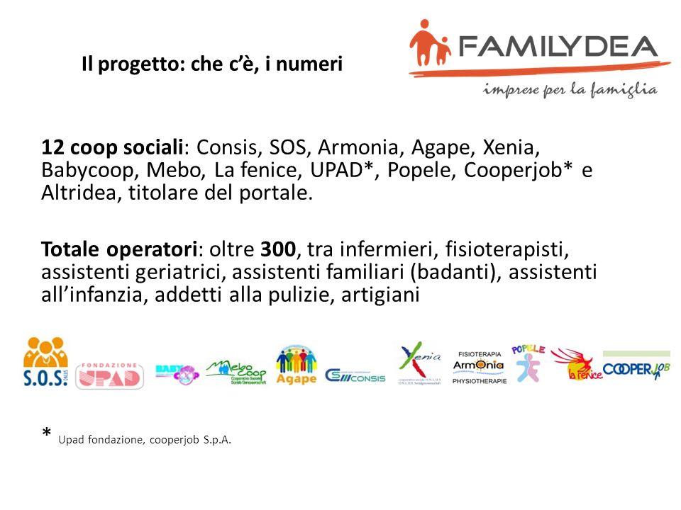 Il progetto: che cè, i numeri 12 coop sociali: Consis, SOS, Armonia, Agape, Xenia, Babycoop, Mebo, La fenice, UPAD*, Popele, Cooperjob* e Altridea, ti