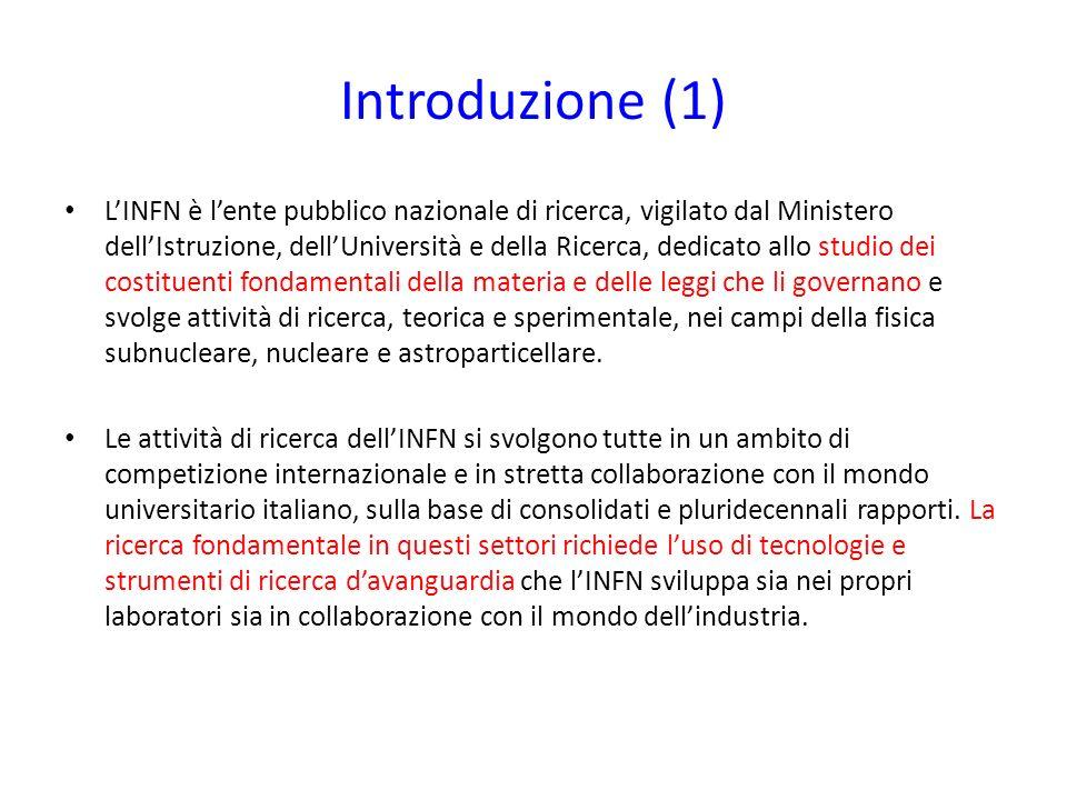 Introduzione (1) LINFN è lente pubblico nazionale di ricerca, vigilato dal Ministero dellIstruzione, dellUniversità e della Ricerca, dedicato allo stu