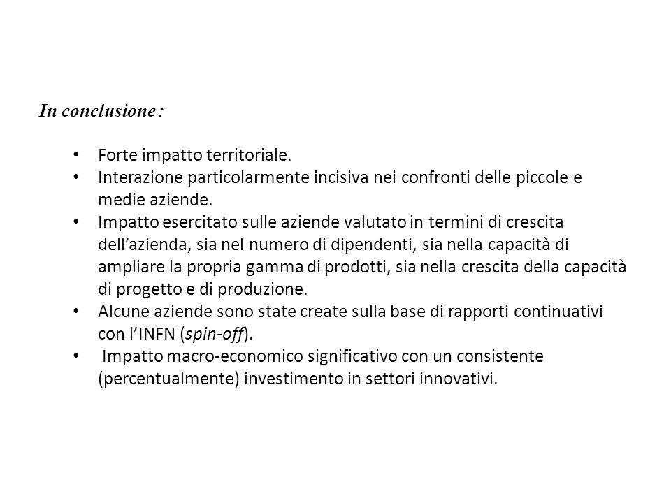 In conclusione : Forte impatto territoriale. Interazione particolarmente incisiva nei confronti delle piccole e medie aziende. Impatto esercitato sull