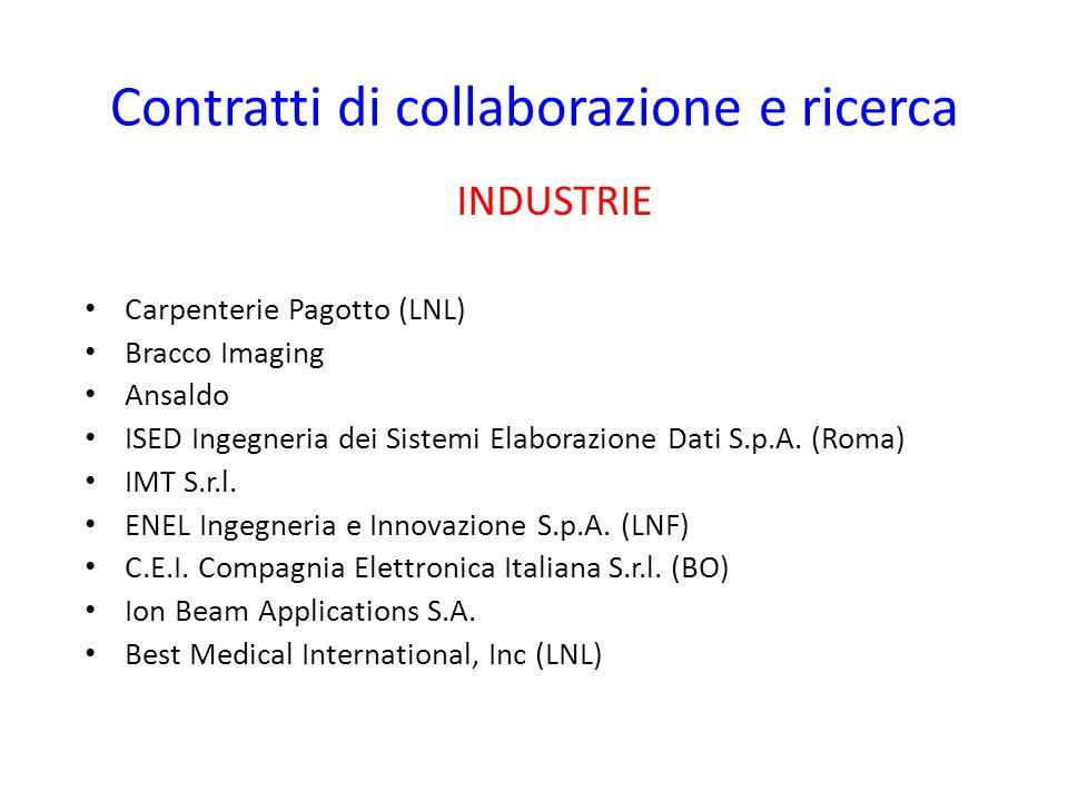 Contratti di collaborazione e ricerca INDUSTRIE Carpenterie Pagotto (LNL) Bracco Imaging Ansaldo ISED Ingegneria dei Sistemi Elaborazione Dati S.p.A.