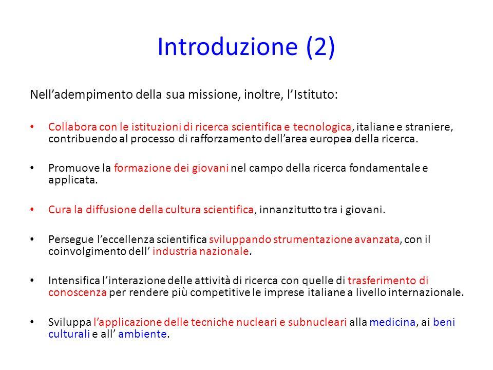 Introduzione (2) Nelladempimento della sua missione, inoltre, lIstituto: Collabora con le istituzioni di ricerca scientifica e tecnologica, italiane e