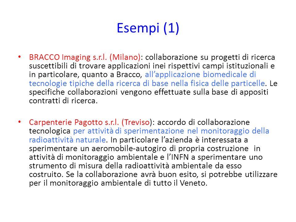 Esempi (1) BRACCO Imaging s.r.l. (Milano): collaborazione su progetti di ricerca suscettibili di trovare applicazioni inei rispettivi campi istituzion