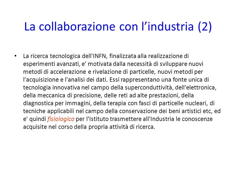 La collaborazione con lindustria (2) La ricerca tecnologica dell'INFN, finalizzata alla realizzazione di esperimenti avanzati, e' motivata dalla neces