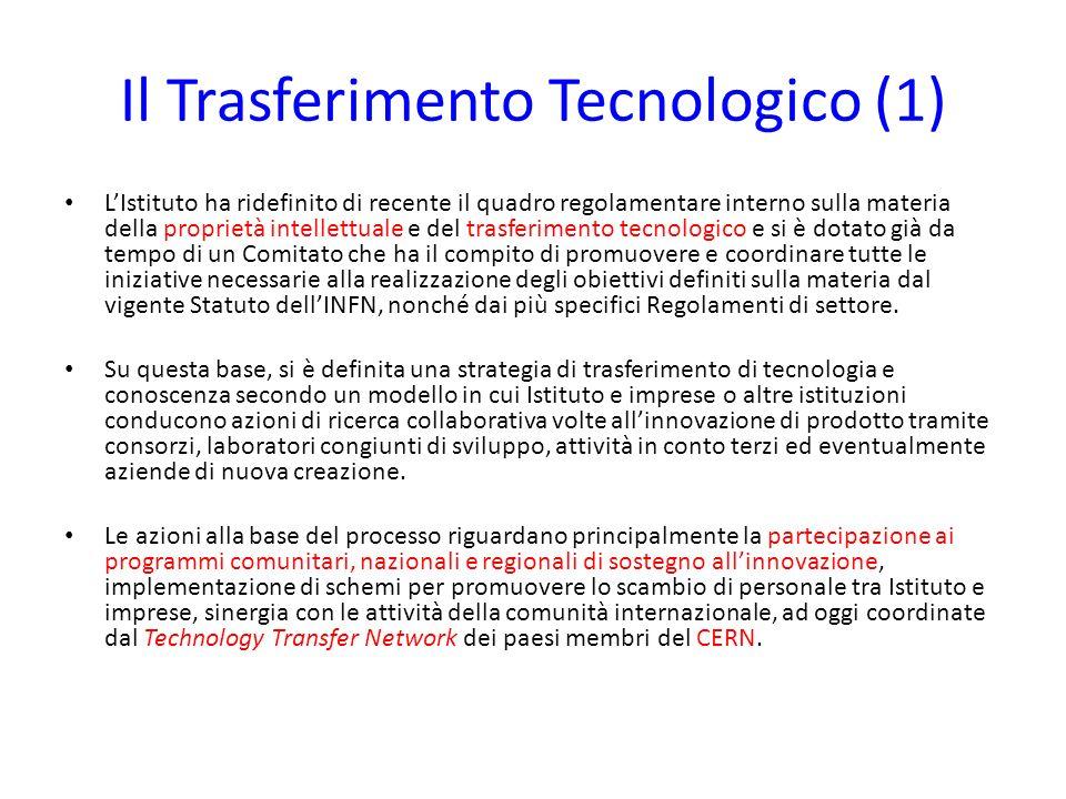 Il Trasferimento Tecnologico (2) Essendo lINFN un Ente che svolge ricerca di base, i suoi regolamenti per il Trasferimento Tecnologico sono principalmente orientati alla valorizzazione delle conoscenze.