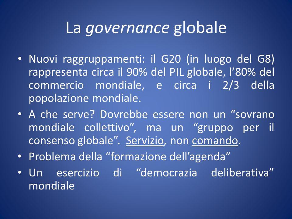 La governance globale Nuovi raggruppamenti: il G20 (in luogo del G8) rappresenta circa il 90% del PIL globale, l80% del commercio mondiale, e circa i