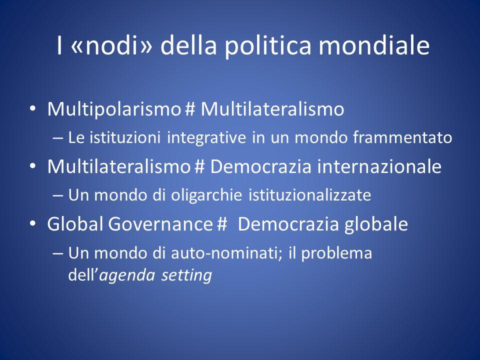 I «nodi» della politica mondiale Multipolarismo # Multilateralismo – Le istituzioni integrative in un mondo frammentato Multilateralismo # Democrazia