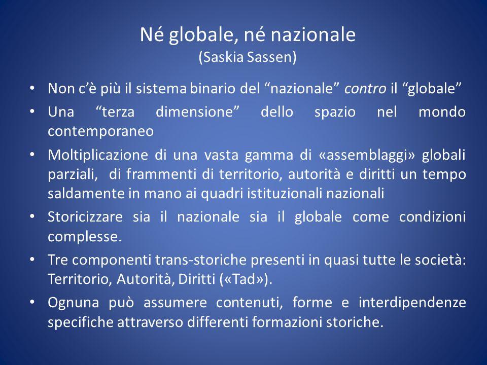 Né globale, né nazionale (Saskia Sassen) Non cè più il sistema binario del nazionale contro il globale Una terza dimensione dello spazio nel mondo con