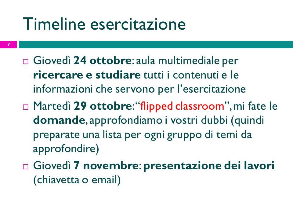 Timeline esercitazione Giovedì 24 ottobre: aula multimediale per ricercare e studiare tutti i contenuti e le informazioni che servono per lesercitazio