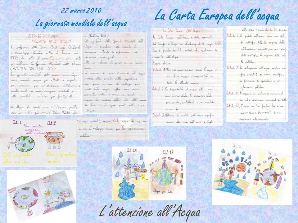 Lattenzione allAcqua 22 marzo 2010 La giornata mondiale dellacqua La Carta Europea dellacqua