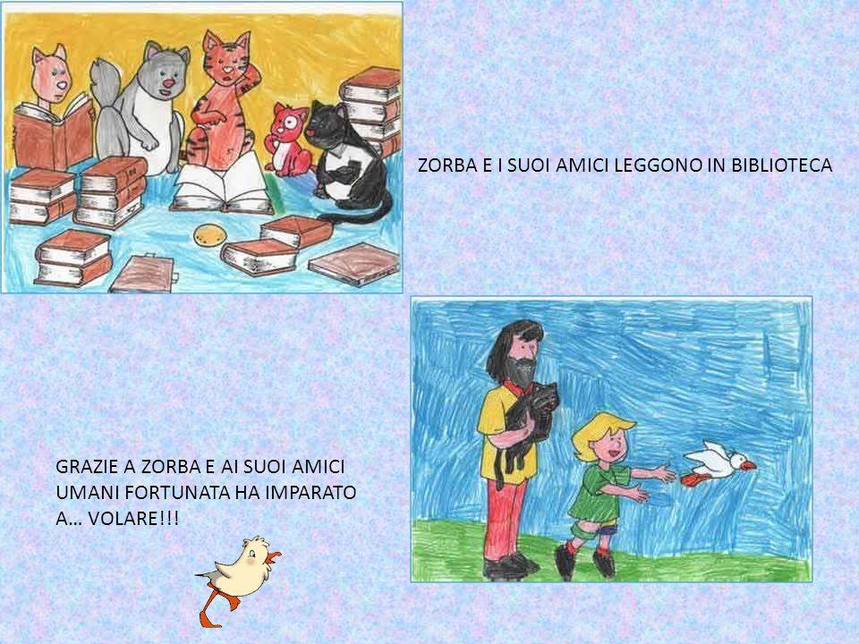 ZORBA E I SUOI AMICI LEGGONO IN BIBLIOTECA GRAZIE A ZORBA E AI SUOI AMICI UMANI FORTUNATA HA IMPARATO A… VOLARE!!!