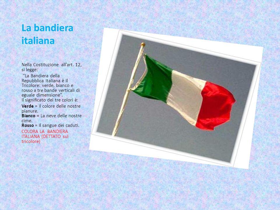 La bandiera italiana Nella Costituzione allart. 12, si legge: La Bandiera della Repubblica Italiana è il Tricolore: verde, bianco e rosso a tre bande