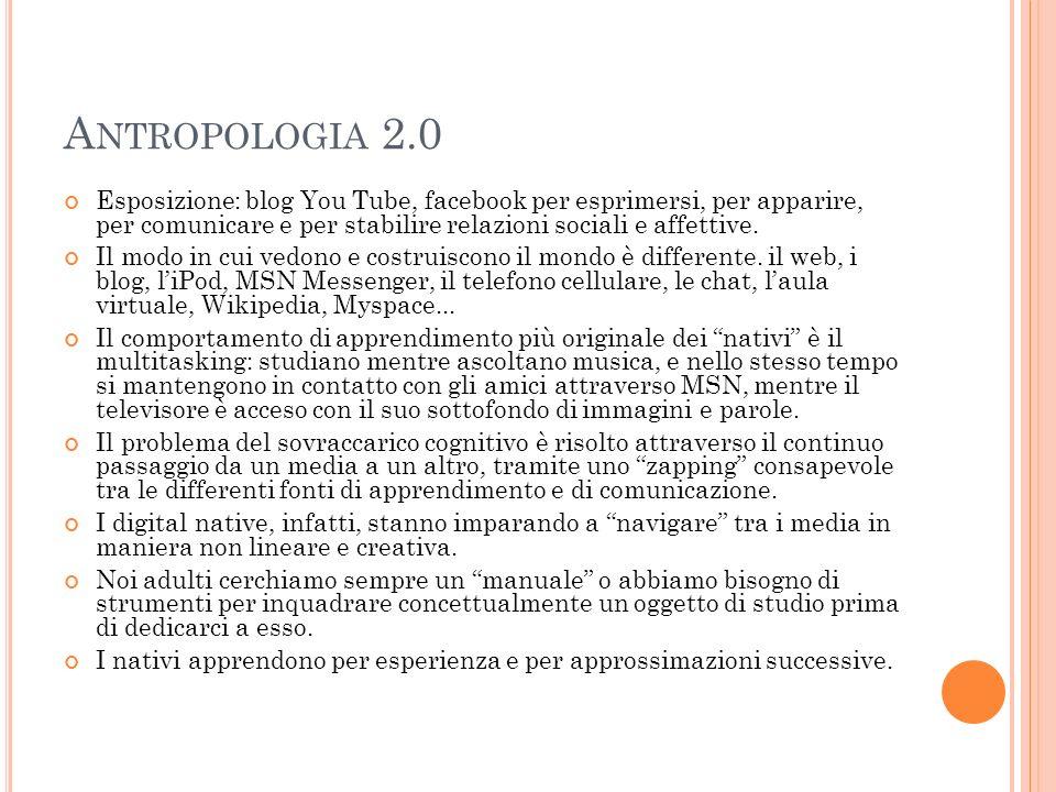 A NTROPOLOGIA 2.0 Esposizione: blog You Tube, facebook per esprimersi, per apparire, per comunicare e per stabilire relazioni sociali e affettive. Il