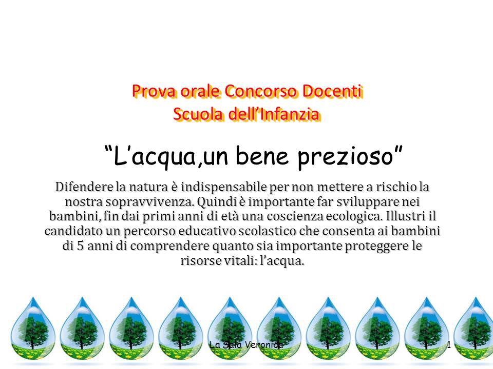 Prova orale Concorso Docenti Scuola dellInfanzia La Sala Veronica1 Difendere la natura è indispensabile per non mettere a rischio la nostra sopravvivenza.