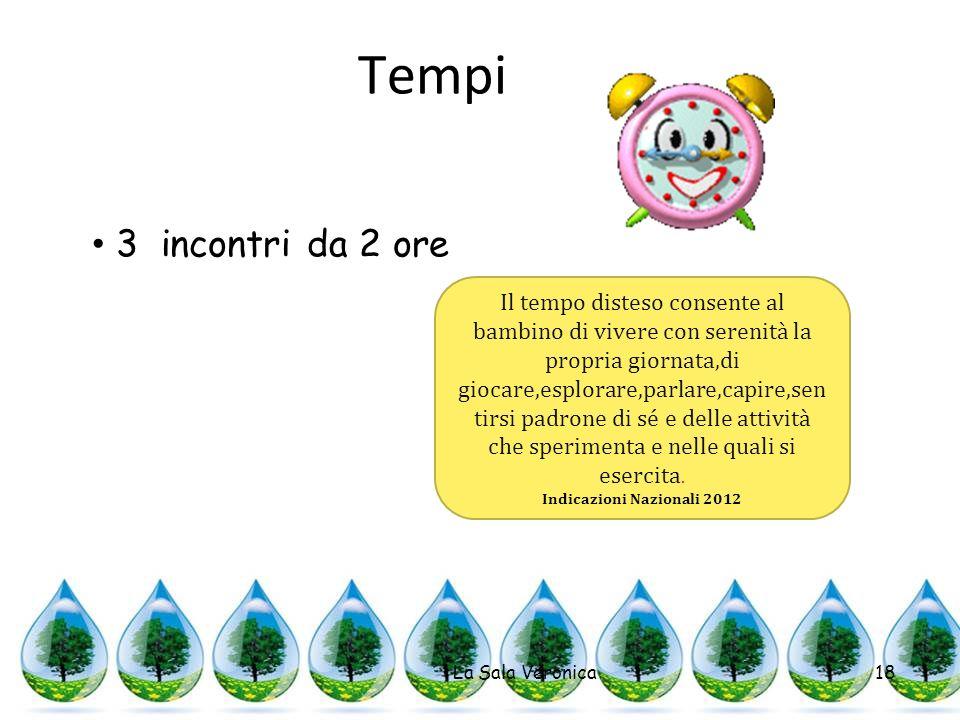 Tempi La Sala Veronica18 3 incontri da 2 ore Il tempo disteso consente al bambino di vivere con serenità la propria giornata,di giocare,esplorare,parl