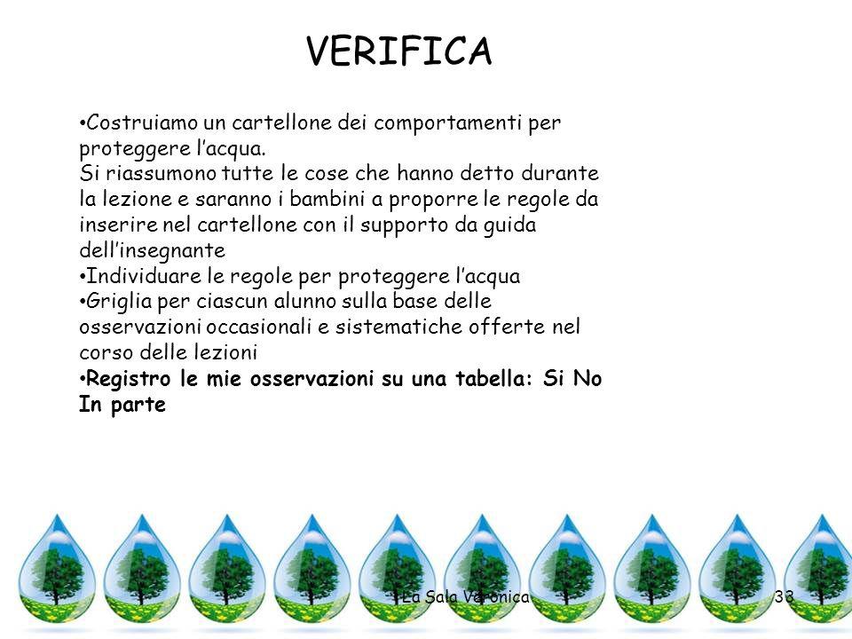 La Sala Veronica33 VERIFICA Costruiamo un cartellone dei comportamenti per proteggere lacqua. Si riassumono tutte le cose che hanno detto durante la l