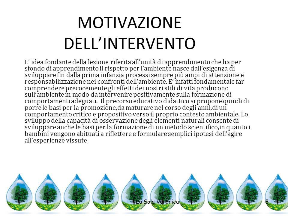 MOTIVAZIONE DELLINTERVENTO La Sala Veronica8 L idea fondante della lezione riferita allunità di apprendimento che ha per sfondo di apprendimento il ri