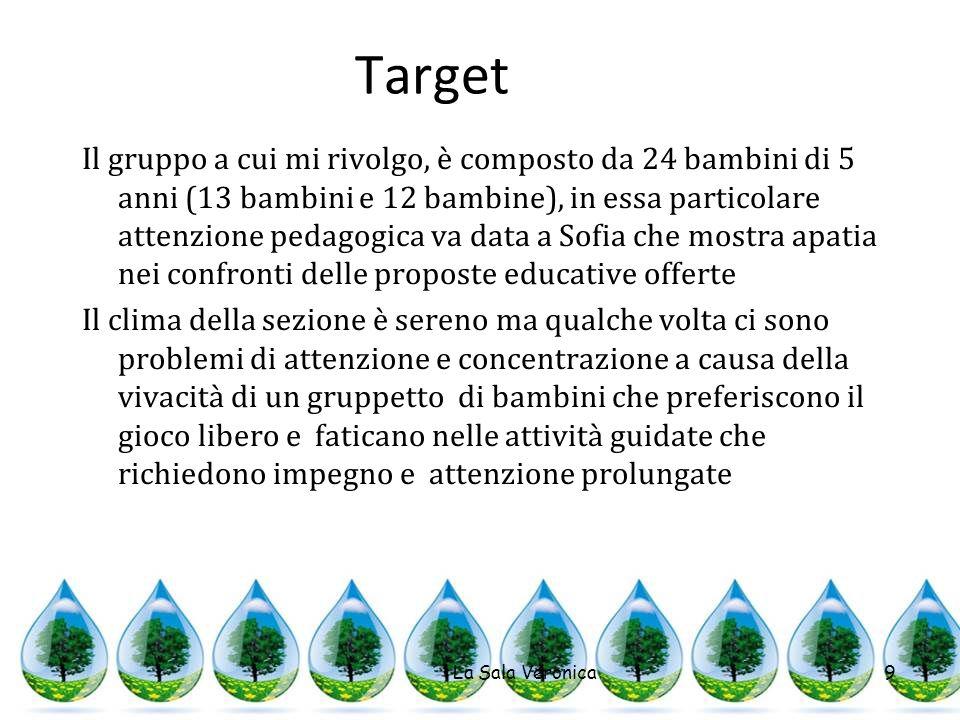 Target Il gruppo a cui mi rivolgo, è composto da 24 bambini di 5 anni (13 bambini e 12 bambine), in essa particolare attenzione pedagogica va data a S