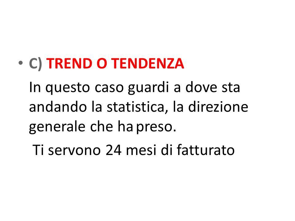 C) TREND O TENDENZA In questo caso guardi a dove sta andando la statistica, la direzione generale che hapreso.