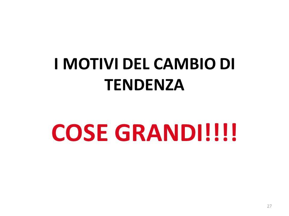 27 I MOTIVI DEL CAMBIO DI TENDENZA COSE GRANDI!!!!