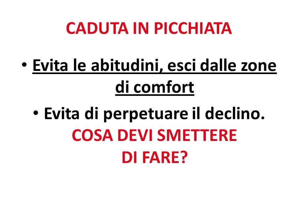 CADUTA IN PICCHIATA Evita le abitudini, esci dalle zone di comfort Evita di perpetuare il declino.
