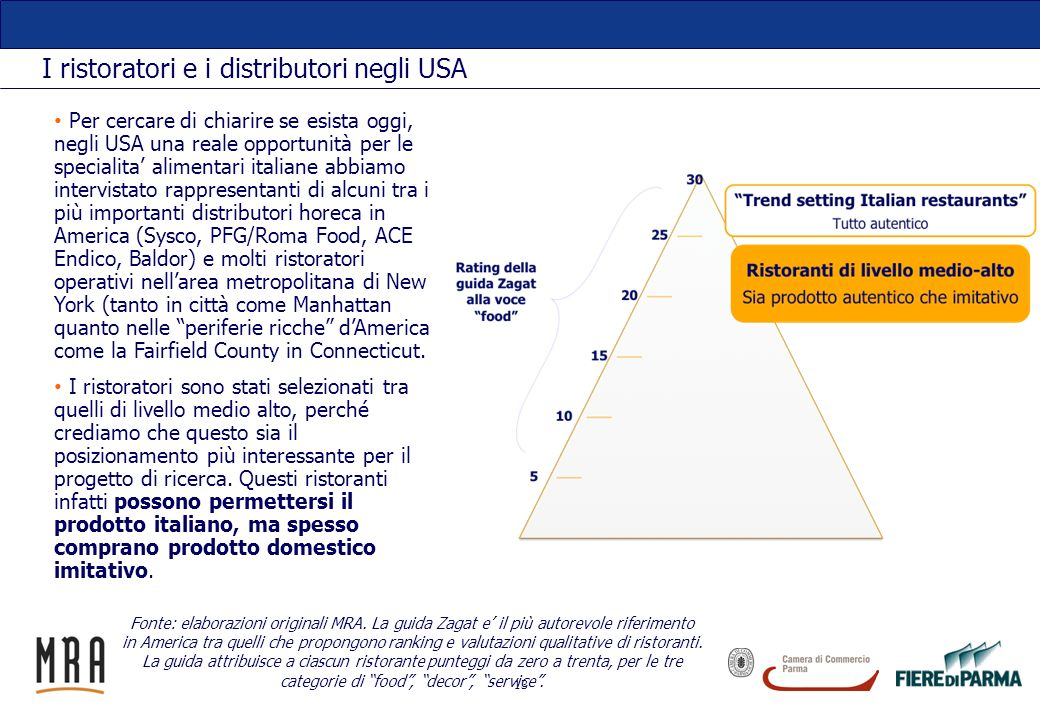 13 I ristoratori e i distributori negli USA Per cercare di chiarire se esista oggi, negli USA una reale opportunità per le specialita alimentari itali