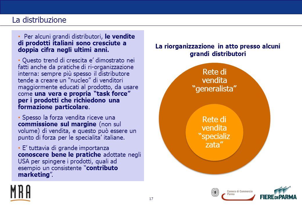 17 La distribuzione Rete di vendita generalista Rete di vendita specializ zata Per alcuni grandi distributori, le vendite di prodotti italiani sono cr