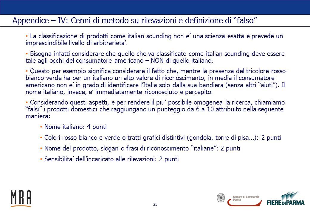 25 Appendice – IV: Cenni di metodo su rilevazioni e definizione di falso La classificazione di prodotti come italian sounding non e una scienza esatta