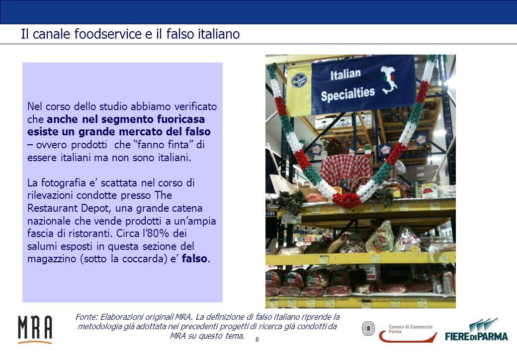 8 Il canale foodservice e il falso italiano Nel corso dello studio abbiamo verificato che anche nel segmento fuoricasa esiste un grande mercato del fa