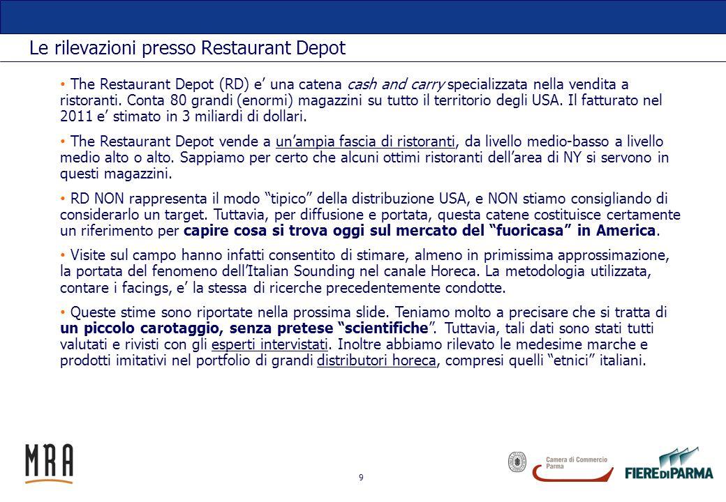 9 Le rilevazioni presso Restaurant Depot The Restaurant Depot (RD) e una catena cash and carry specializzata nella vendita a ristoranti. Conta 80 gran