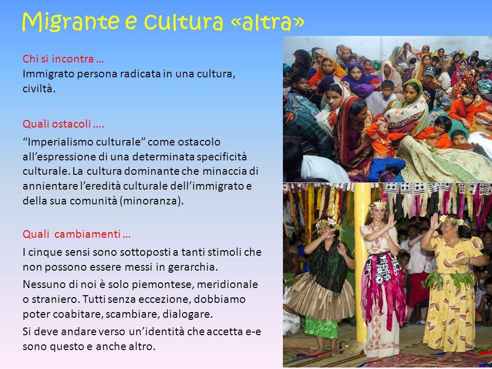 Migrante e cultura «altra» Chi si incontra … Immigrato persona radicata in una cultura, civiltà.