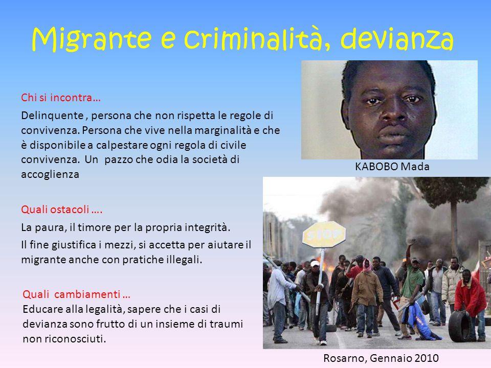 Migrante e criminalità, devianza Chi si incontra… Delinquente, persona che non rispetta le regole di convivenza.