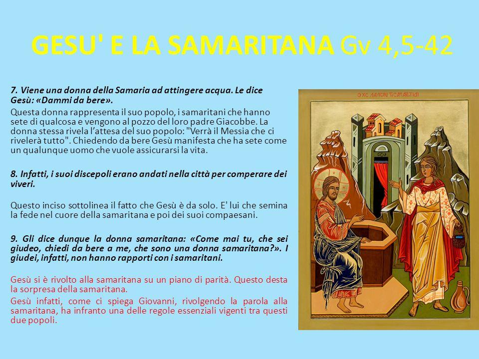 GESU E LA SAMARITANA Gv 4,5-42 7.Viene una donna della Samaria ad attingere acqua.
