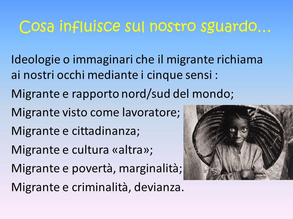 Cosa influisce sul nostro sguardo… Ideologie o immaginari che il migrante richiama ai nostri occhi mediante i cinque sensi : Migrante e rapporto nord/sud del mondo; Migrante visto come lavoratore; Migrante e cittadinanza; Migrante e cultura «altra»; Migrante e povertà, marginalità; Migrante e criminalità, devianza.