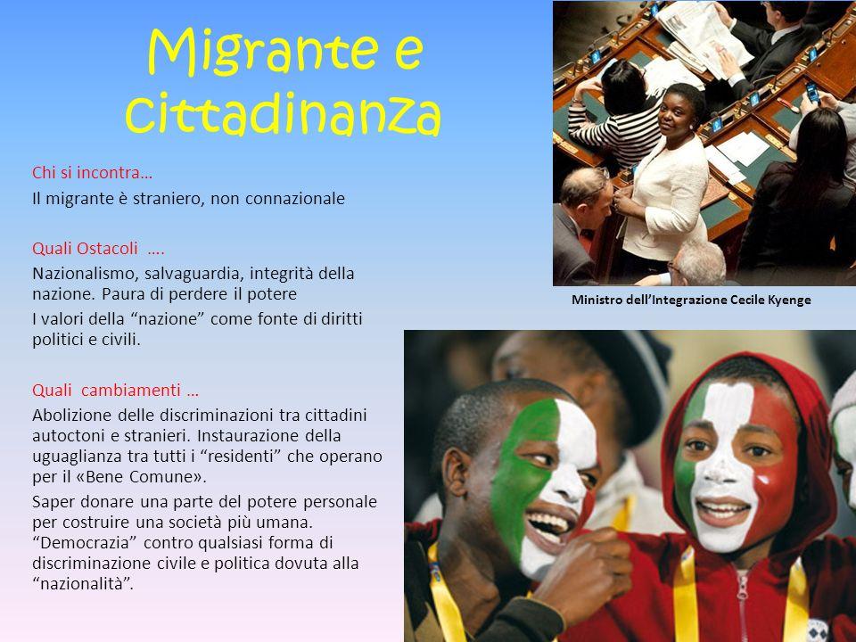 Migrante e cittadinanza Chi si incontra… Il migrante è straniero, non connazionale Quali Ostacoli ….